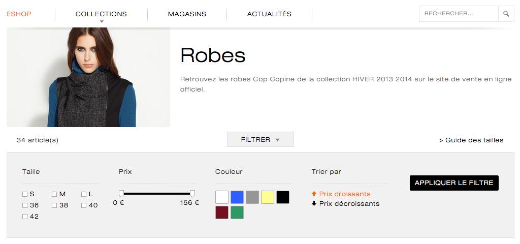 Filtre muli-critère site E-Commerce Cop. Copine