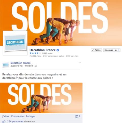 Page Facebook Soldes Décathlon