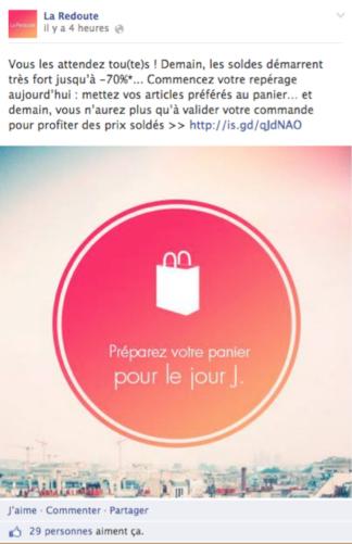 Page Facebook Soldes La Redoute