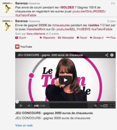 Page Twitter Soldes Sarenza