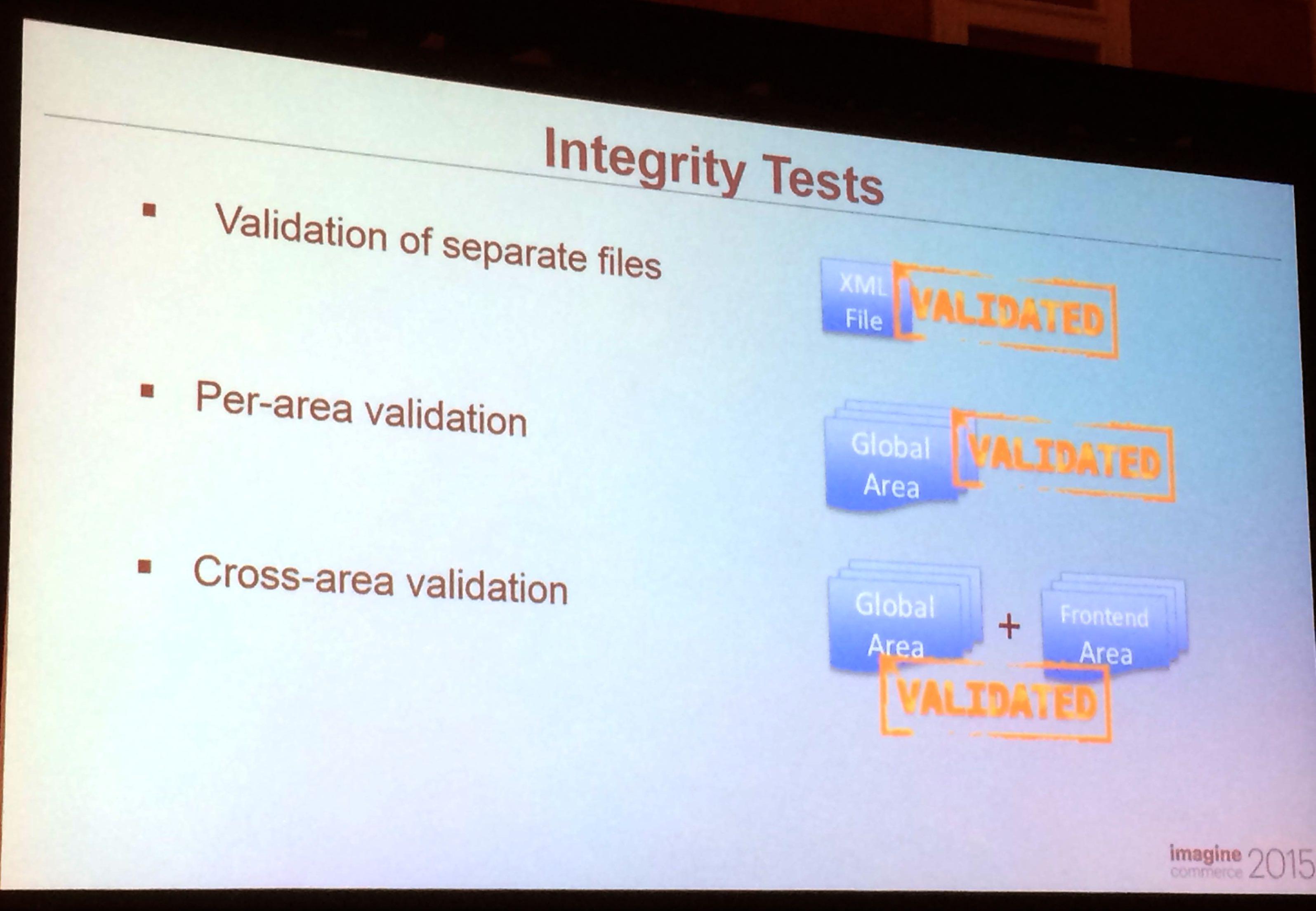 Les différents tests d'intégrités possibles de Magento2