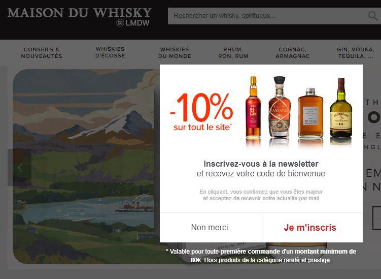 code promo inscription newsletter - Maison du Whisky