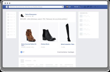 Facebook publicité Nosto sur ordinateur