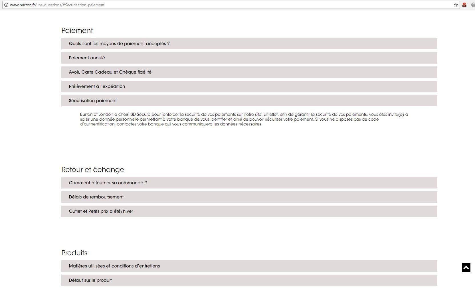 Page FAQ Burton