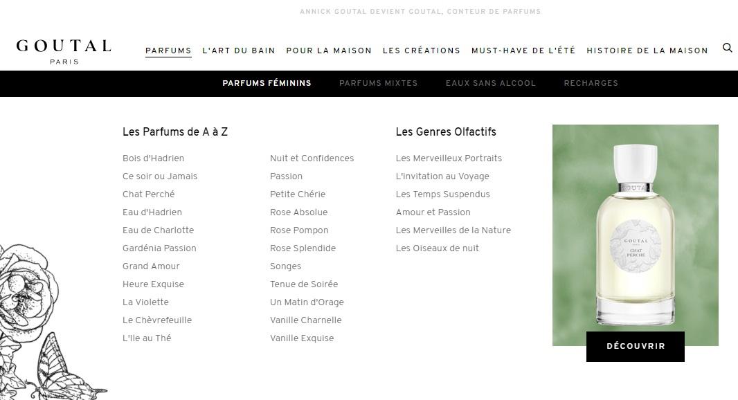 Goutal Paris refonte de site : arborescence plus fluide