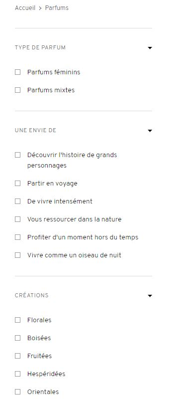 filtre à facette pour le nouveau site de Goutal Paris