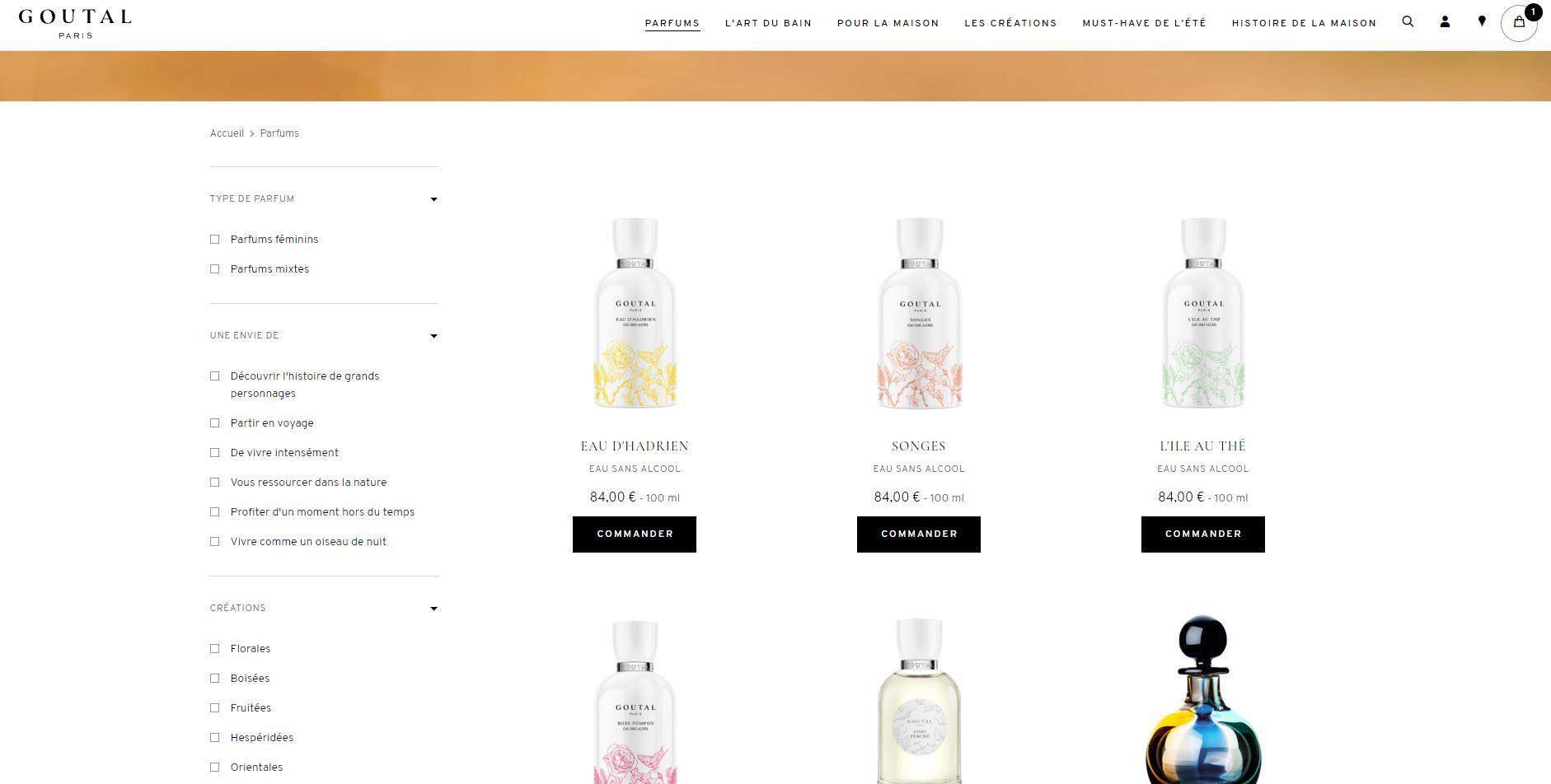 refonte Goutal Paris : page parfums