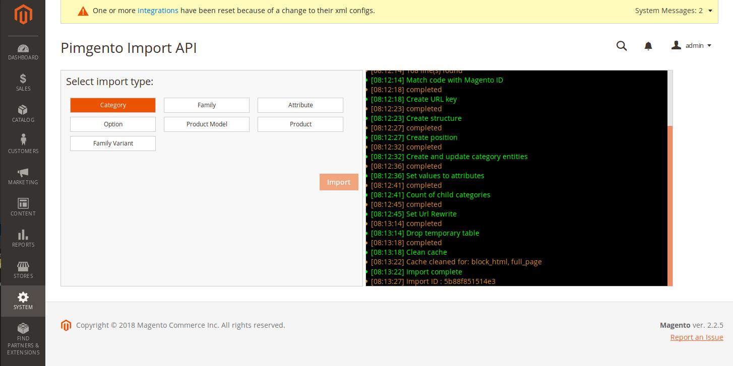 démonstration PIMGento2 API Magento-Akeneo