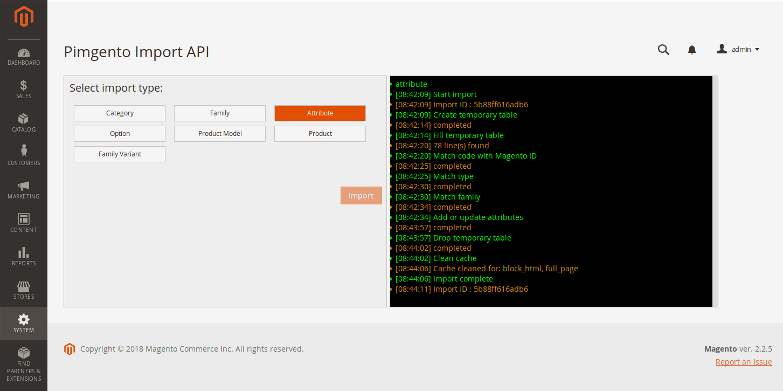 démonstration PIMGento2 API